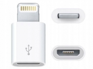 Adapter Lightning na micro USB 8PIN iPhone 5 5s 6 6s iPad (biały)